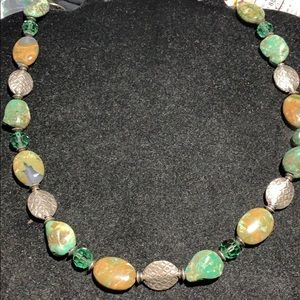 STERLING SILVER-TURQUOISE-AGATE-CRYSTAL NECKLACE